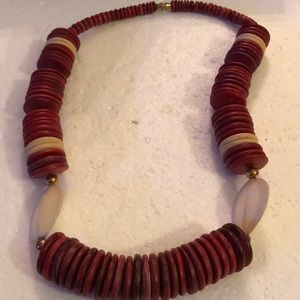 Vintage wood shell necklace